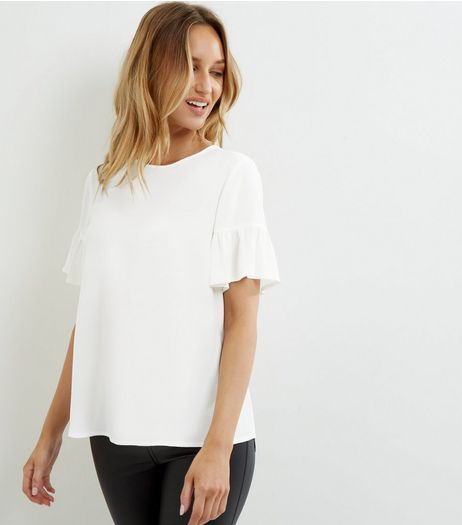 White Frill Sleeve Top | New Look