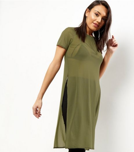 Khaki Mesh Side Split Longline T-shirt | New Look