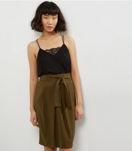 Khaki Tie Waist Drape Pencil Skirt  | New Look