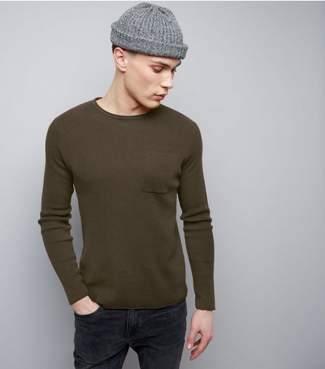 Brown Raw Hem Pocket Front Jumper | New Look