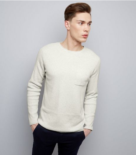 Silver Raw Hem Pocket Front Jumper | New Look