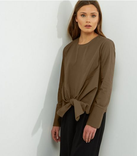 Khaki Tie Front Long Sleeve Top | New Look