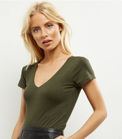 Khaki V Neck Cap Sleeve Bodysuit | New Look