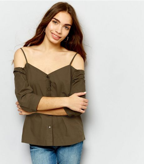Khaki Button Front Cold Shoulder Shirt  | New Look