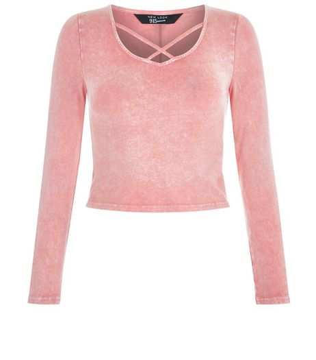 Teens Pink Acid Wash Cross Strap Front Top | New Look