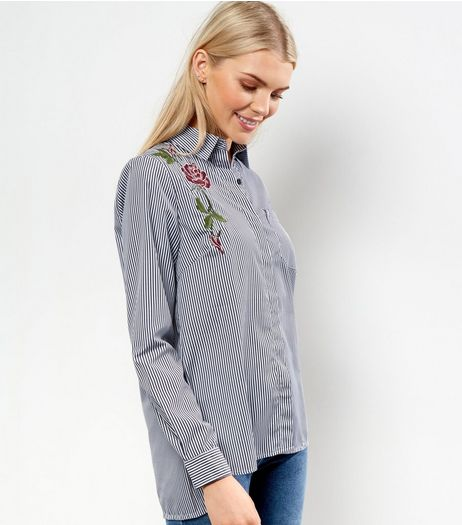Light Grey Floral Embroidered Stripe Shirt  | New Look