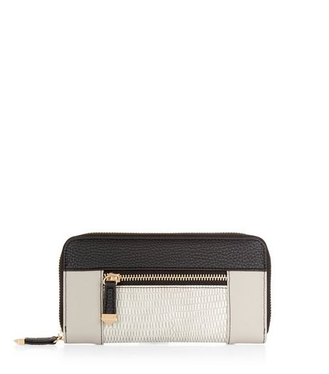 Grey Colour Block Zip Around Purse | New Look