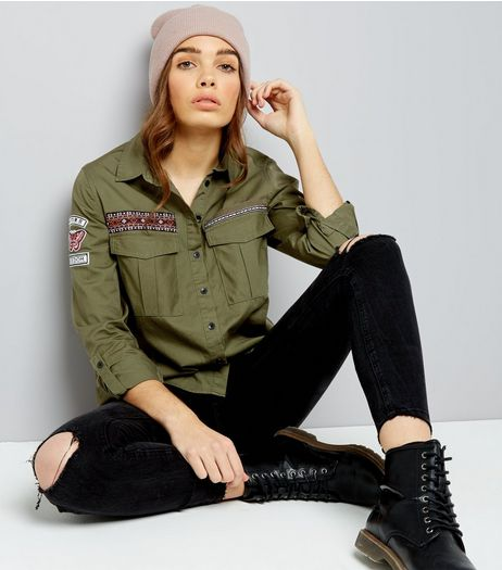 Khaki Embroidered Trim Military Shirt  | New Look
