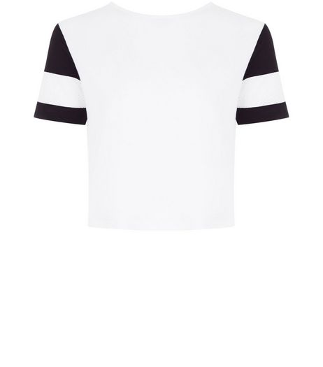 Teens White Mesh Stripe Short Sleeve T-shirt | New Look