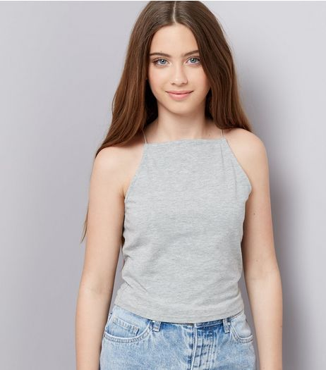 Teens Grey High Neck Cami | New Look
