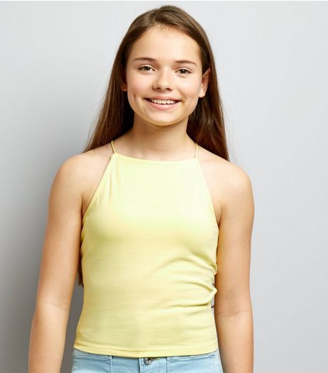 Teens Pale Yellow High Neck Cami | New Look