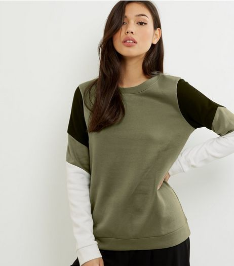 Khaki Colour Block Sweater | New Look
