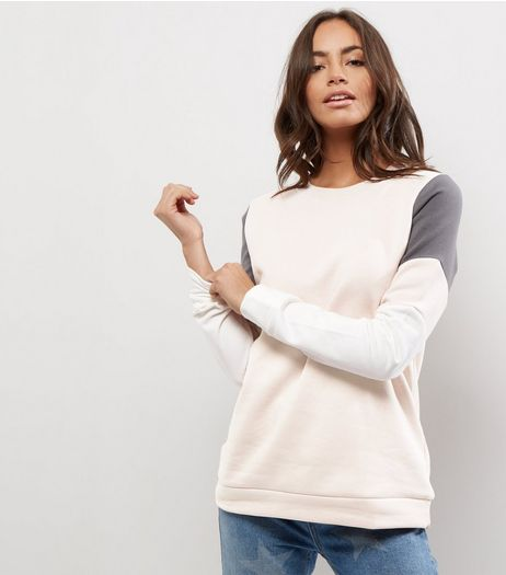Shell Pink Colour Block Sweater  | New Look