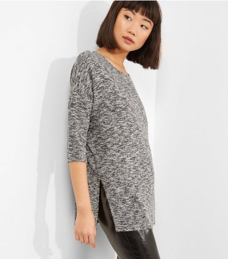 Pale Grey Split Side Crew Neck Top  | New Look