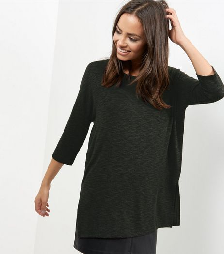 Khaki Split Side Crew Neck Top  | New Look
