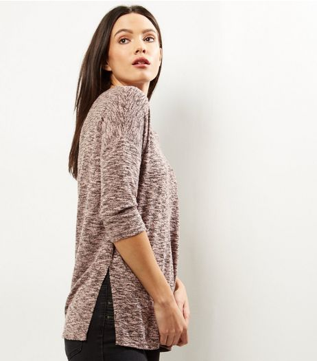 Shell Pink Split Side Crew Neck Top | New Look