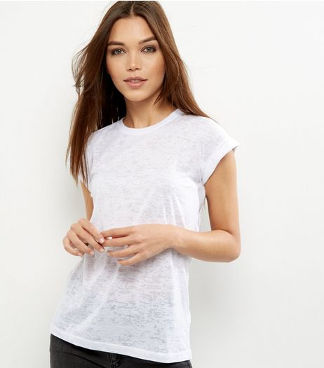 Petite White Burnout T-shirt | New Look