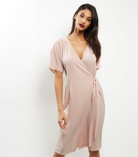 Shell Pink Short Sleeve Wrap Front Midi Dress | New Look