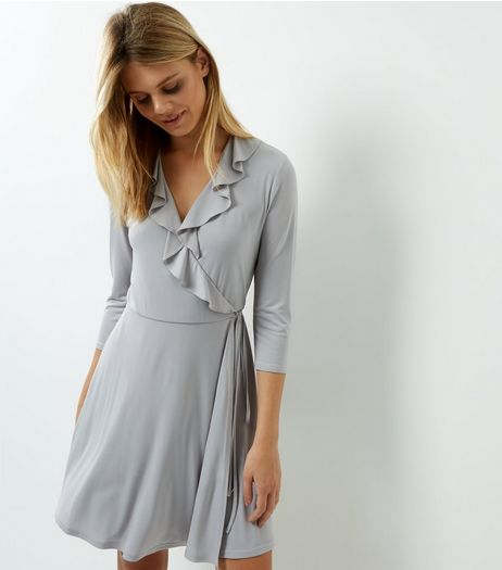 Grey Frill Trim Wrap Front Dress | New Look