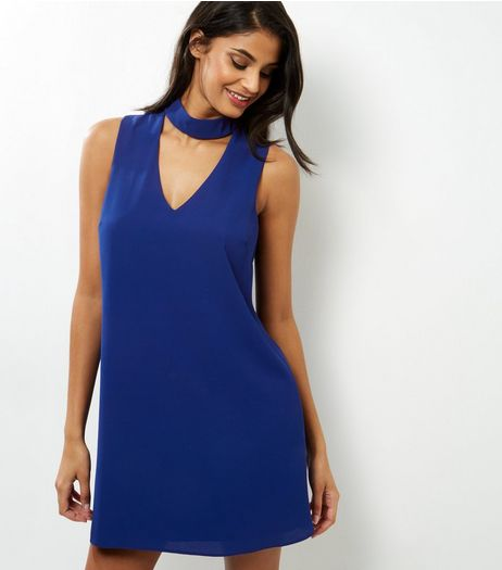 Blue Choker Neck Cut Out Sleeveless Tunic Dress | New Look