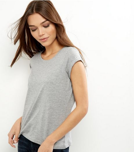 Petite Grey Rolled Sleeve T-shirt | New Look