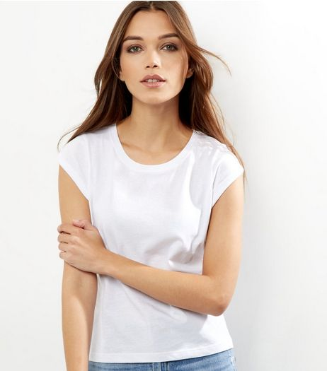 Petite White Rolled Sleeve T-shirt | New Look