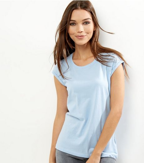Petite Pale Blue Rolled Sleeve T-shirt | New Look