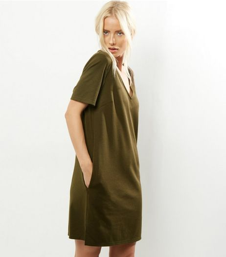 Khaki V Neck Short Sleeve Tunic Dress | New Look