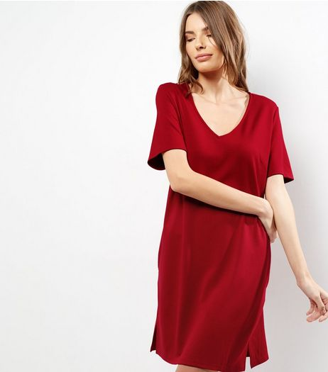 Red V Neck Short Sleeve Tunic Dress | New Look