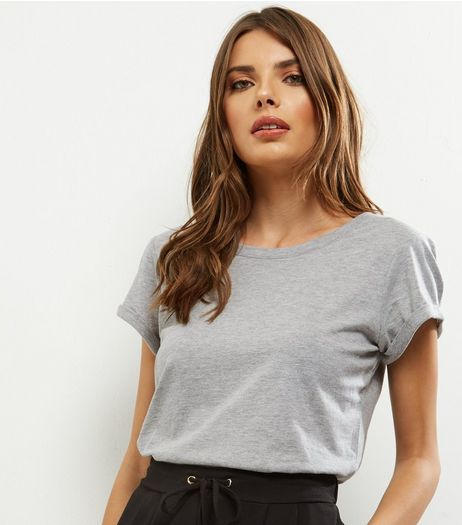 Tall Grey Rolled Sleeve T-shirt | New Look