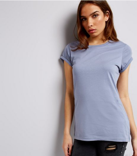 Tall Blue Rolled Sleeve T-Shirt | New Look