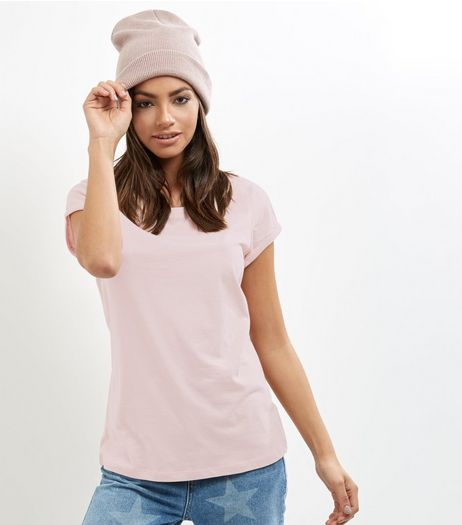 Tall Shell Pink Rolled Sleeve T-shirt | New Look