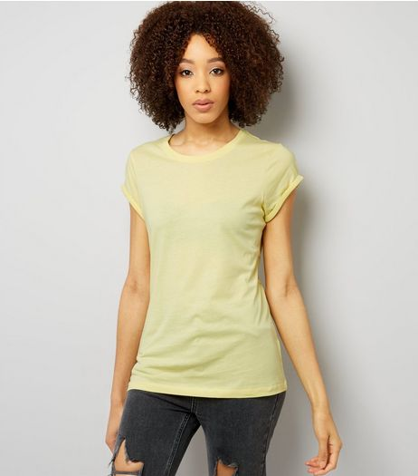 Tall Yellow Rolled Sleeve T-Shirt | New Look