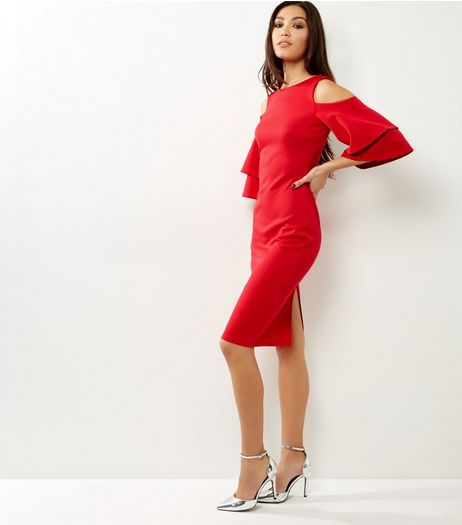 Cameo Rose Red Frill Trim Cold Shoulder Bodycon Dress | New Look