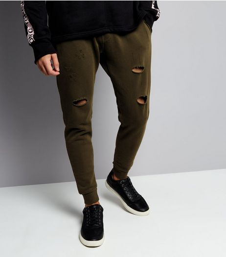 Khaki Ripped Joggers | New Look