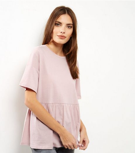 Pink Frill Hem Short Sleeve Top | New Look