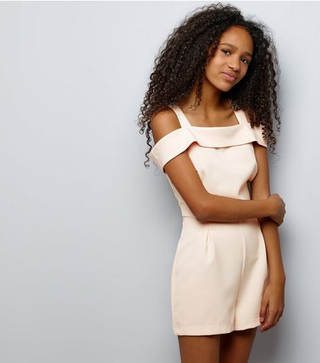 Teens Pink Bardot Neck Cold Shoulder Playsuit | New Look