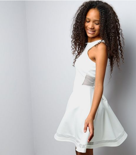 Teens White Mesh Panel Scuba Skater Dress | New Look