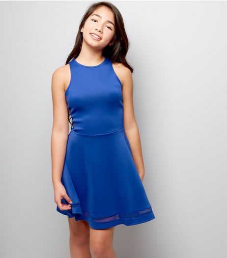 Teens Blue Mesh Panel Scuba Skater Dress | New Look