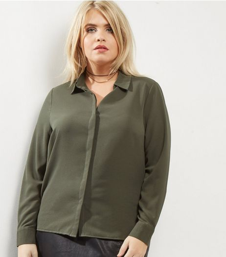 Curves Khaki Long Sleeve Shirt | New Look