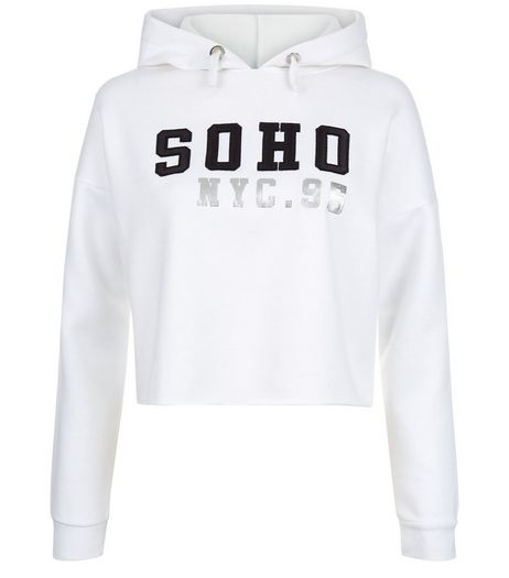 Teens White Soho Cropped Hoodie | New Look