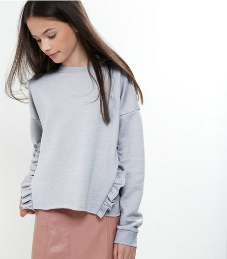 Teens Grey Frill Trim Sweater | New Look