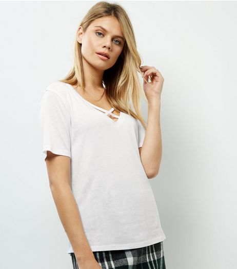 White Cross Front 1/2 Sleeve T-Shirt | New Look