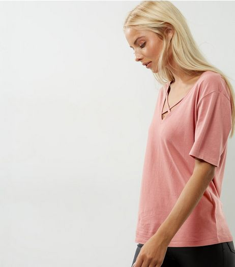 Pink Cross Front V Neck T-Shirt | New Look