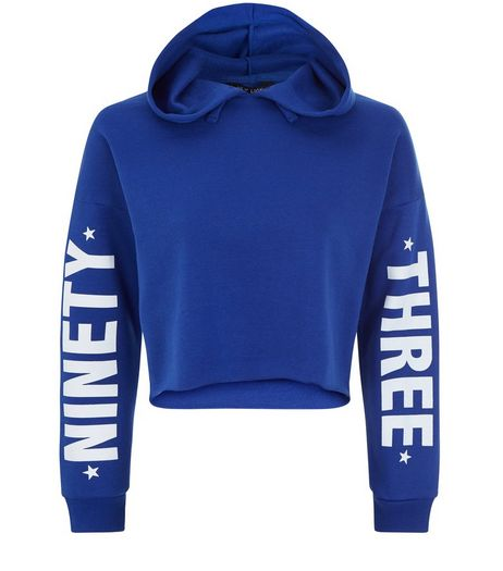 Teens Blue 93 Printed Sleeve Cropped Hoodie | New Look