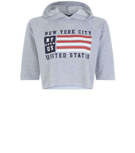 Teens Grey Embroidered USA Flag 3/4 Sleeve Hoodie | New Look