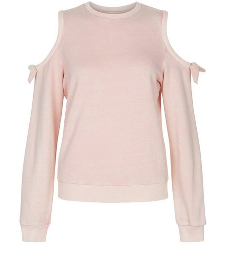 Teens Shell Pink Acid Wash Cold Shoulder Sweater | New Look