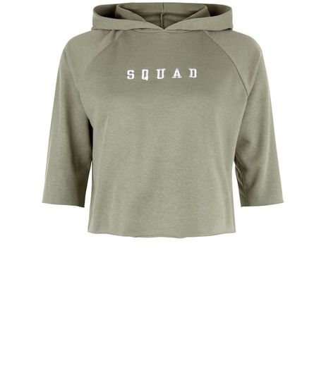 Teens Khaki Squad Embroidered 3/4 Sleeve Hoodie | New Look