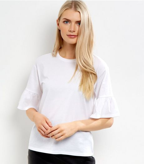 White Frill Sleeve T-Shirt  | New Look