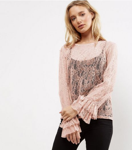 Shell Pink Lace Bell Sleeve Top  | New Look